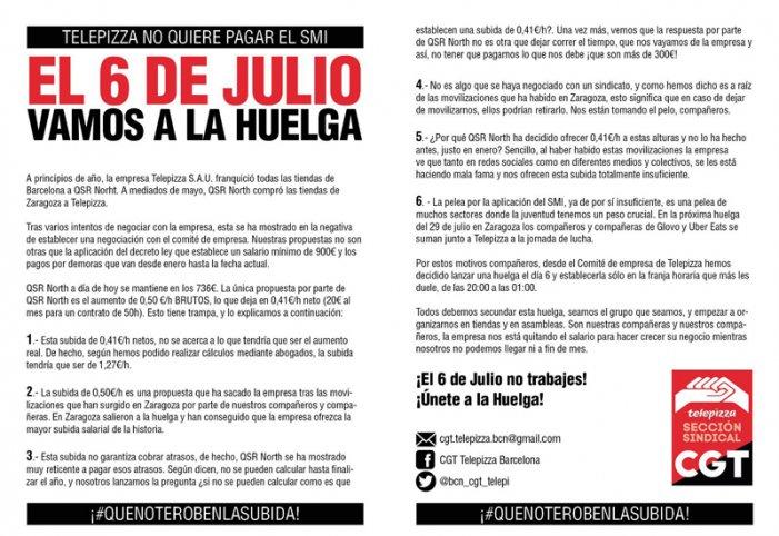 QSR - Telepizza Barcelona anirà a la vaga el pròxim 6 de juliol