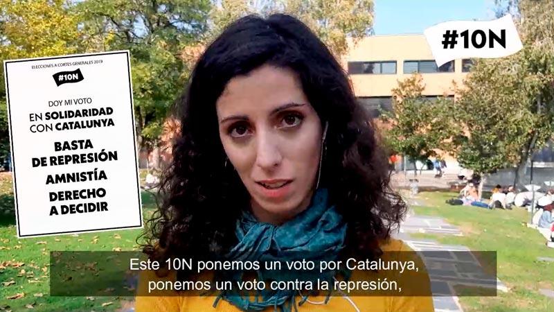 """Lucía Nistal: """"Aquest 10N a Madrid, votem nul en solidaritat amb el poble català"""""""