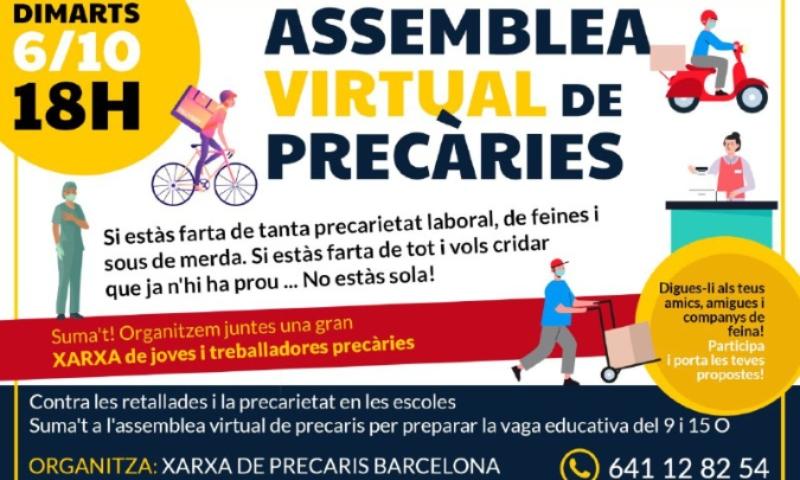 Suma't a l'assemblea virtual de precàries per a preparar la vaga educativa a Catalunya!